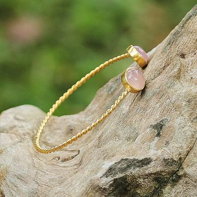 Gold plated chalcedony cuff bracelet, 'Gold Charm in Pink' - Gold Plated Pink Chalcedony Cuff Bracelet from Thailand