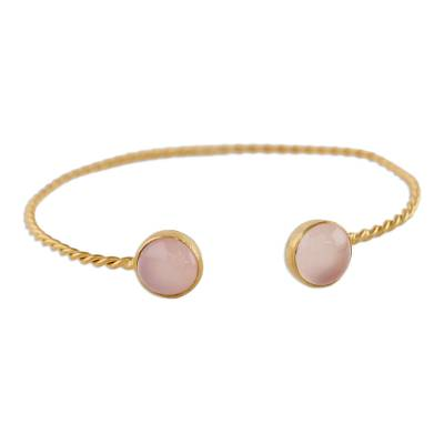 Gold Plated Pink Chalcedony Cuff Bracelet from Thailand