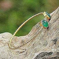 Gold plated green onyx cuff bracelet,