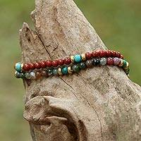 Multi-gemstone beaded bracelets, 'Magical Colors' (pair) - Two Jasper and Serpentine Multi-Gem Beaded Bracelets