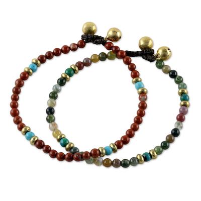 Two Jasper and Serpentine Multi-Gem Beaded Bracelets