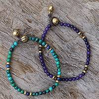 Multi-gemstone beaded bracelets, 'Magical Earth' - Two Serpentine and Tiger's Eye Multigem Beaded Bracelets