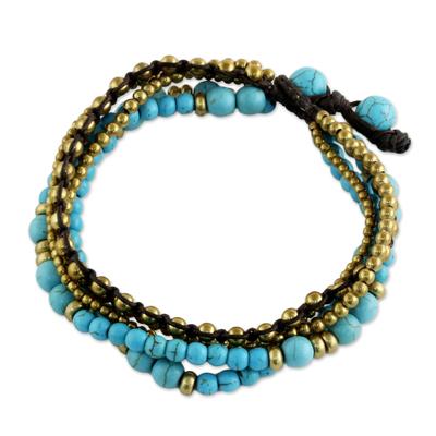 Brass and Calcite Multi-Strand Beaded Bracelet from Thailand