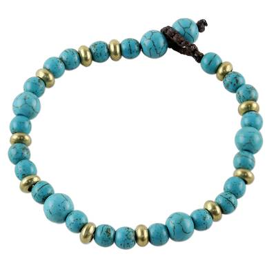 Brass and Calcite Beaded Bracelet from Thailand