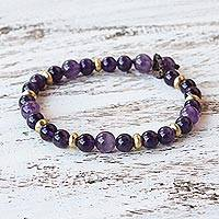 Amethyst beaded bracelet, Beautiful Thai in Purple - Amethyst and Brass Beaded Bracelet from Thailand