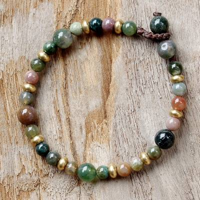 Agate beaded bracelet, 'Beautiful Thai' - Agate and Brass Beaded Bracelet from Thailand