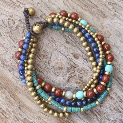 Multi-gemstone beaded bracelet, Beads and Bells
