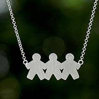 Sterling silver pendant necklace, 'Three Sons' - Thai Sterling Silver Pendant Necklace of Three Sons
