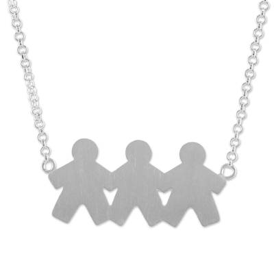 Thai Sterling Silver Pendant Necklace of Three Sons