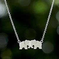 Sterling silver pendant necklace, 'Elephant Twins' - Thai Sterling Silver Elephant Pendant Rolo Chain Necklace