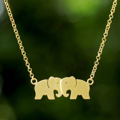 Gold plated pendant necklace, 'Elephant Twins' - Thai 24k Gold Plated Sterling Silver Elephant Necklace