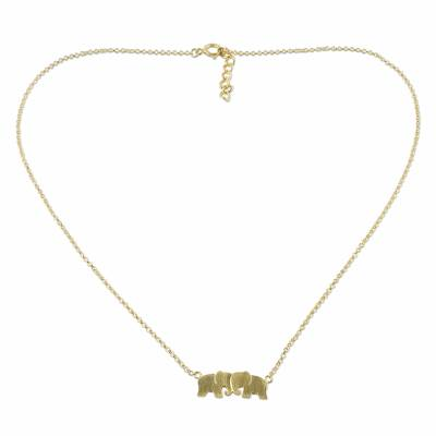 Thai 24k Gold Plated Sterling Silver Elephant Necklace