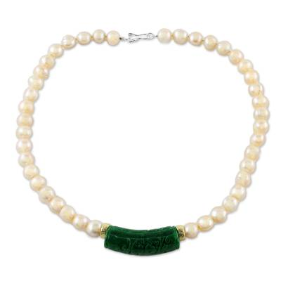 Thai Green Quartz and Cultured Pearl Beaded Pendant Necklace