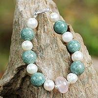 Rose quartz and cultured pearl beaded bracelet, 'Colorful Mix' - Rose Quartz and Cultured Pearl Beaded Bracelet from Thailand