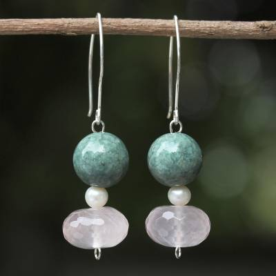 Rose quartz and cultured pearl dangle earrings, 'Colorful Mix' - Rose Quartz and Cultured Pearl Dangle Earrings from Thailand