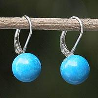 Sterling silver drop earrings, 'Pure Blue' - Blue Calcite and Sterling Silver Drop Earrings from Thailand
