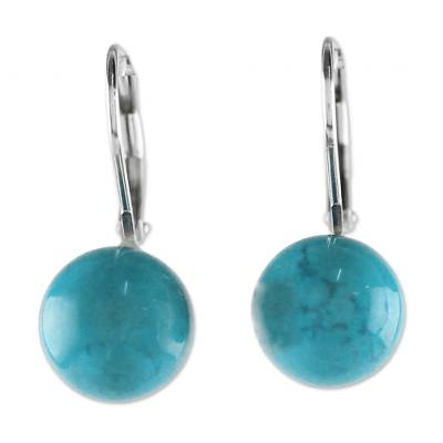 Blue Calcite and Sterling Silver Drop Earrings from Thailand