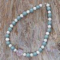 Rose quartz and cultured pearl pendant necklace, 'Colorful Mix' - Thai Rose Quartz and Cultured Pearl Beaded Pendant Necklace