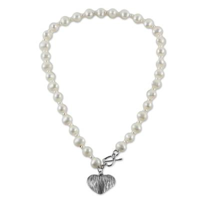 Sterling Silver and Cultured Pearl Heart Pendant Necklace