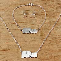Sterling silver jewelry set, 'Lovely Elephants' - Unique Artisan Loving Elephant Jewelry
