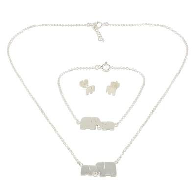 Sterling Silver Jewelry Set Elephants from Thailand