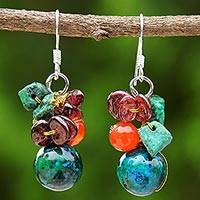 Garnet and carnelian beaded dangle earrings, 'Tropical Oasis' - Beaded Dangle Earrings with Garnet and Carnelian