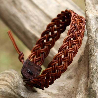 Braided leather wristband bracelet, 'Braided Paths in Brown' - Brown Leather Braided Bracelet from Thailand