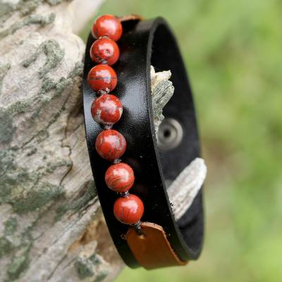 Men's jasper and leather wristband bracelet, 'Rock Party in Red' - Men's Jasper and Leather Wristband Bracelet from Thailand