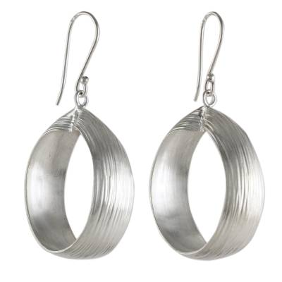 Silver Hill Tribe Style Dangle Earrings from Thailand
