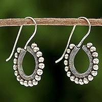 Silver drop earrings, 'Karen Life' - Handmade Karen Hill Tribe Silver Drop Earrings