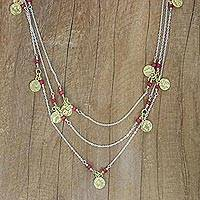 Gold accented ruby long station necklace, 'Golden Moons' - Thai Silver 925 Necklace with Gold Plated Charms and Ruby