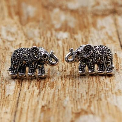 Garnet and marcasite button earrings, Glistening Elephants