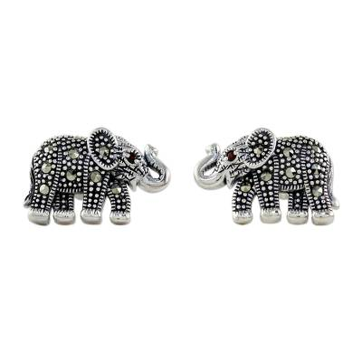 Marcasite and Garnet Elephant Button Earrings from Thailand