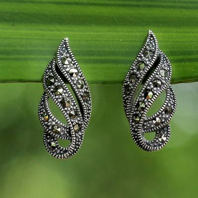 Marcasite button earrings, 'Glistening Ribbons' - Marcasite and Sterling Silver Button Earrings from Thailand