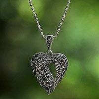 Marcasite pendant necklace, 'Natural Heart' - Marcasite Leaf Pendant Necklace from Thailand