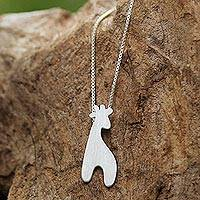 Sterling silver pendant necklace, 'Happy Giraffe' - Thai Handcrafted Sterling Silver Giraffe Pendant Necklace