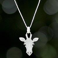Sterling silver pendant necklace, 'Adorable Giraffe' - Modern Sterling Silver Giraffe Face Pendant Necklace