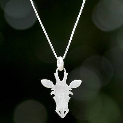 Sterling silver pendant necklace, Adorable Giraffe