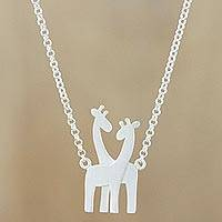 Sterling silver pendant necklace, 'Giraffe Love' - Sterling Silver Giraffe Pendant Necklace from Thailand