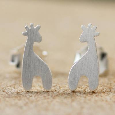 Sterling silver button earrings, 'Happy Giraffes' - Sterling Silver Giraffe Button Earrings from Thailand