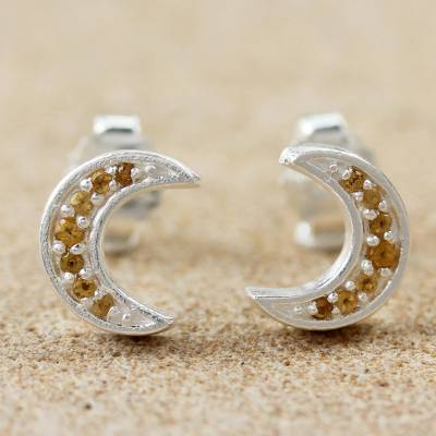 Citrine stud earrings, 'Citrus Crescent Moon' - Thai Sterling Silver and Citrine Crescent Moon Stud Earrings
