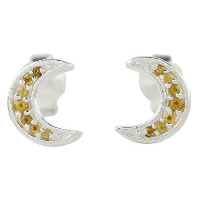 Thai Sterling Silver and Citrine Crescent Moon Stud Earrings