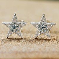 Blue topaz stud earrings,