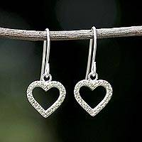Peridot dangle earrings, 'Happy Hearts in Love' - Peridot and Sterling Silver Heart Earrings from Thailand
