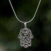 Sterling silver pendant necklace, 'Hamsa Om' - Sterling Silver Om Hamsa Pendant Necklace from Thailand