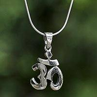 Sterling silver pendant necklace, 'Om Treasure' - Sterling Silver Om Pendant Necklace from Thailand