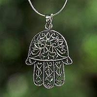 Sterling silver pendant necklace, 'Living Hamsa' - Sterling Silver Hamsa Pendant Necklace from Thailand