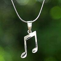 Sterling silver pendant necklace, 'Musical Companion' - Sterling Silver Musical Pendant Necklace from Thailand