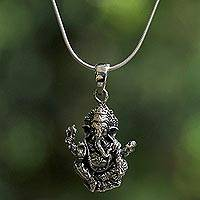 Sterling silver pendant necklace, 'Beneficent Ganesha' - Sterling Silver Ganesha Pendant Necklace from Thailand