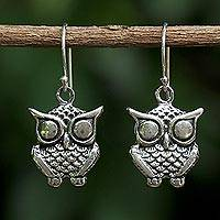 Sterling silver dangle earrings, 'Owl Companion' - Sterling Silver Owl Dangle Earrings from Thailand